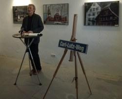 Werner Dreier hielt die Eröffnungsansprache zur Übergabe des Carl-Lutz-Weges in Bregenz