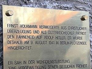 Volkmann - Gedenktafel